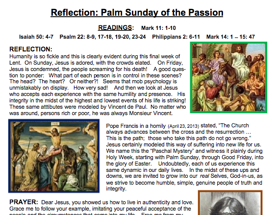 """Ladies of Charity reflect on """"Mob psychology"""" and Palm Sunday"""