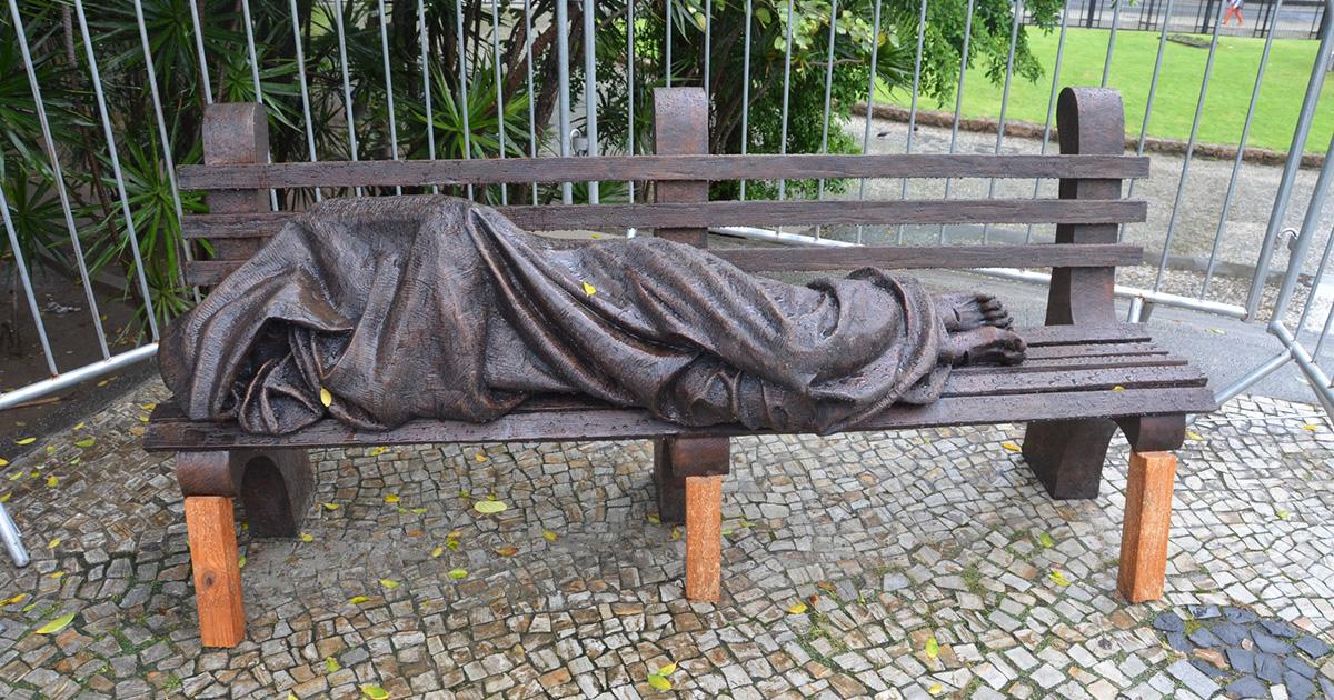 In Rio de Janeiro, a Sculpture of a Homeless Christ has been Installed