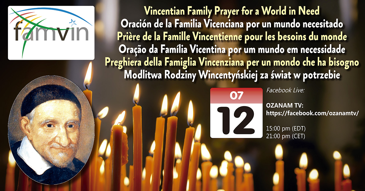 Remember: on July 12th You Are Invited to Pray with the Worldwide Vincentian Family