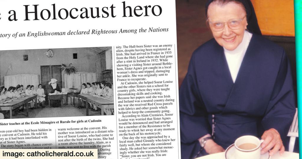 Sr. Agnès Walsh, FDLC, honorée pour avoir protégé des juifs des Nazis.