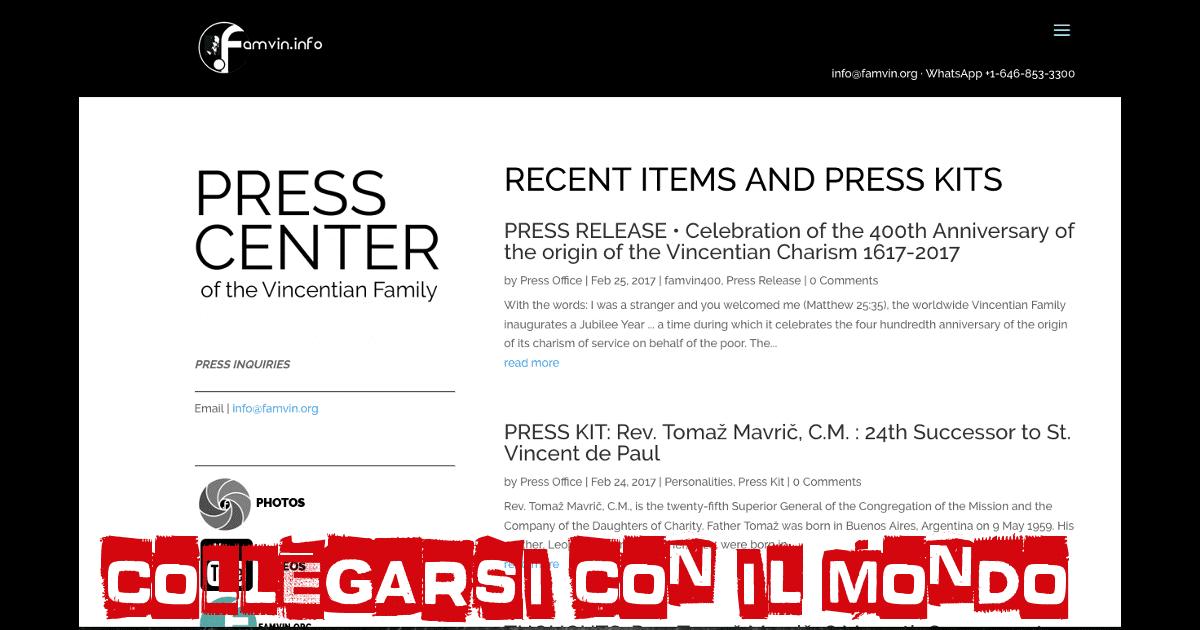Collegarsi con il mondo: un ufficio stampa della Famiglia Vincenziana