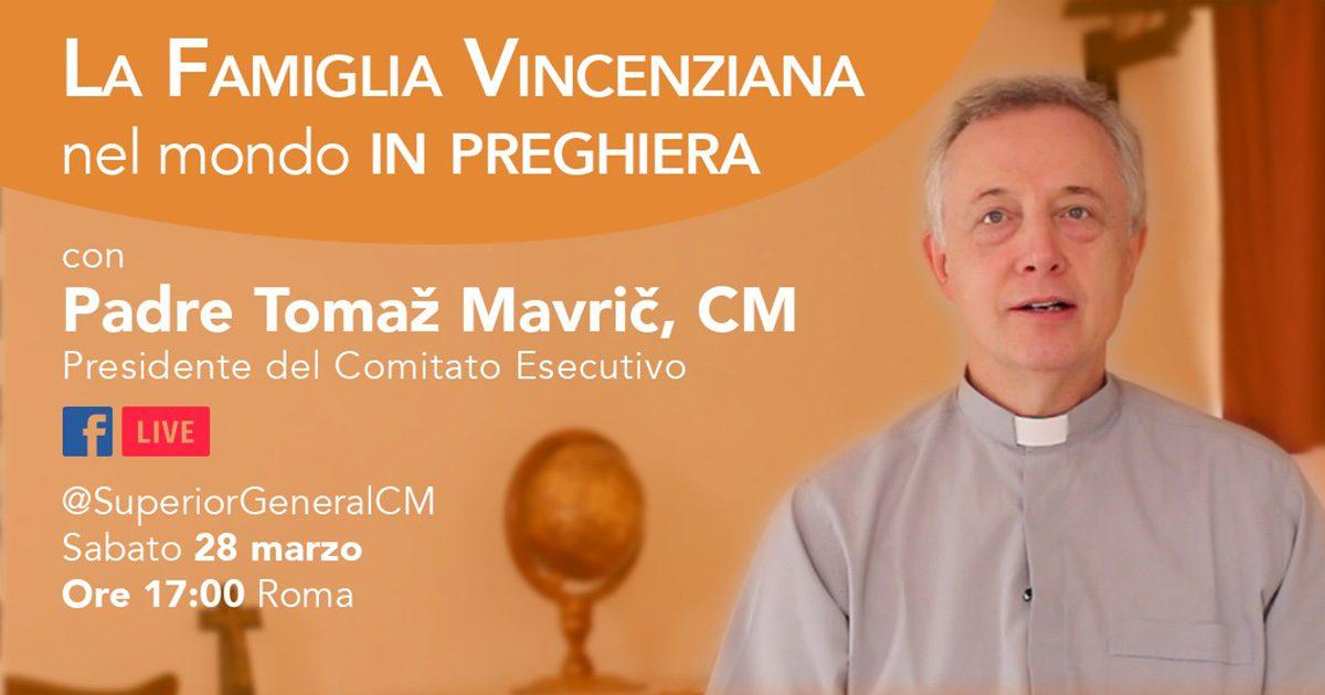 Incontro di preghiera della famiglia vincenziana su Facebook, sabato 28 marzo