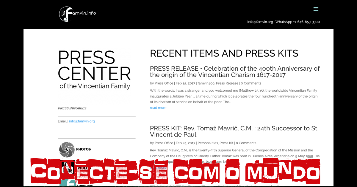 Conecte-se com o mundo: um escritório de imprensa da Família Vicentina