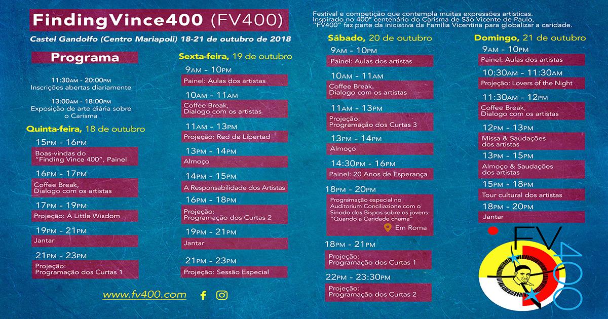 """Agenda do Festival de Cinema """"Encontrando Vicente 400"""""""